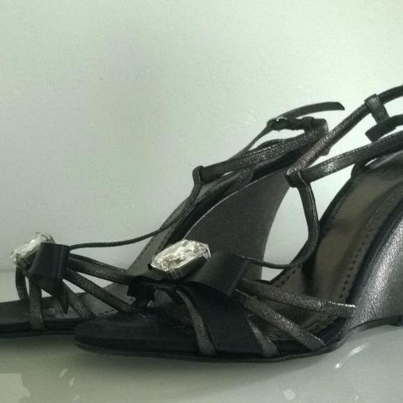 Coach Shoes - COACH Metallic Black Jeweled Ribbon Bow Sandal 7